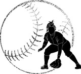 Softball Silhouette Fielder