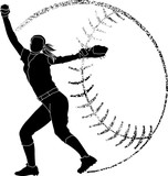 Softball Silhouette Pitcher