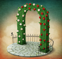 Green arch with roses and  fence on  round podium