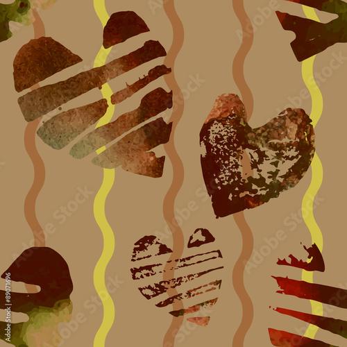 Papiers peints Visage de femme Seamless pattern with grunge hearts.