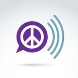 Peace propaganda icon with speech bubble, vector conceptual unus poster