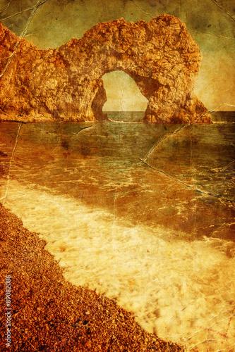 Poster künstlerisch texturiertes Bild vom Durdle Door an der Jurassic Coast in Dorset,