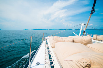 brown cushion on the yacht