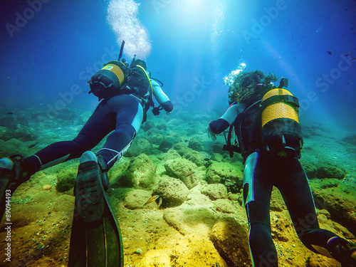 obraz PCV Two divers swimming away from camera. Blue water background.