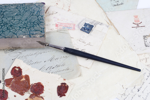 Poster Vintage background with old paper, old ink pen, handwriten letters