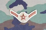 KIEV, UKRAINE - June 6, 2015. US AIR FORCE Airman rank patch on woodland camouflage uniform poster