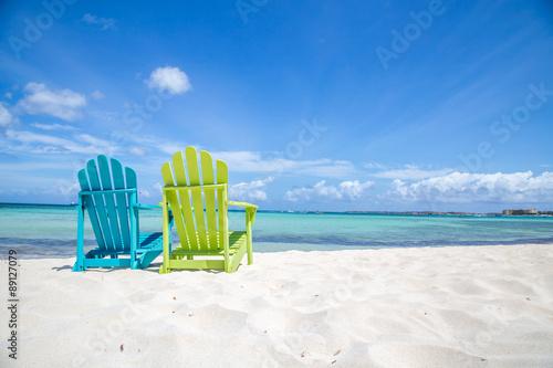 Caribbean Beach Chair Poster