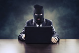 Business espionage hacker stealing corporate information or government surveillance privacy violation poster