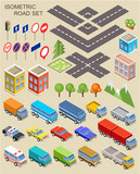 Fototapety Isometric city set.