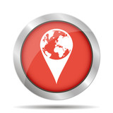 Pictograph of globe. Map pointer poster