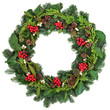Traditional Christmas Wreath  with holly, ivy, mistletoe and winter greenery over white background.