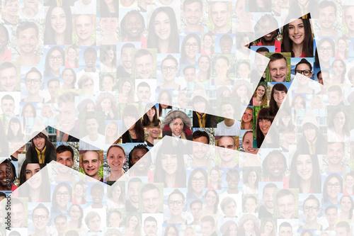 Fototapeta Wachstum mit Erfolg oder erfolgreich Strategie im Business Mensc
