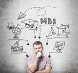 A young prosperous man is thinking about MBA degree. Educational chart is drawn behind him. A concept of further business education. Concrete background. poster