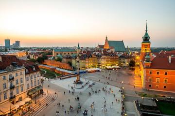 Widok z góry na stare miasto w Warszawie
