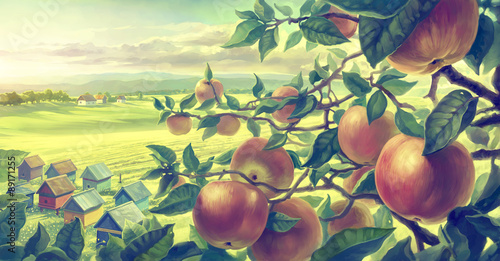 Fotobehang Zwavel geel Summer landscape with apple branches. Digital paint.