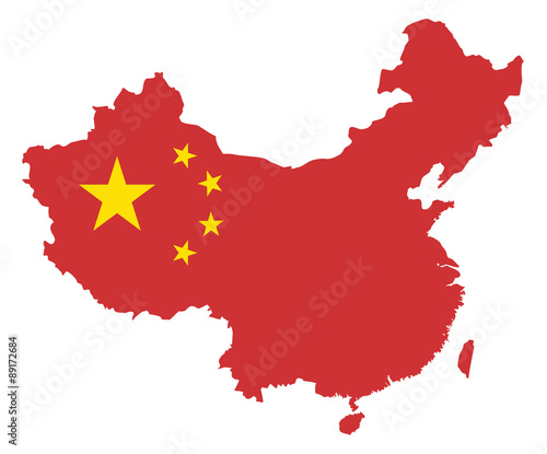 Peoples Republic of China Flag in Map Vector Illustration