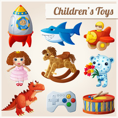 Set of kid's toys. Part 2. Cartoon vector illustration.
