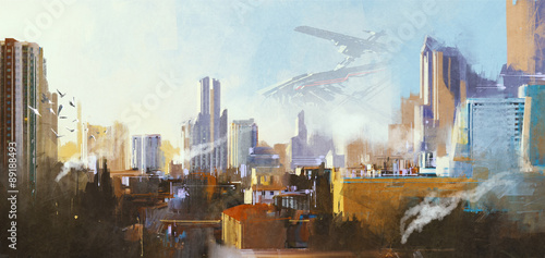 landscape digital painting of futuristic sci-fi city with skyscraper,illustration - 89188493