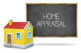 Home appraisal on Blackboard with 3d house poster