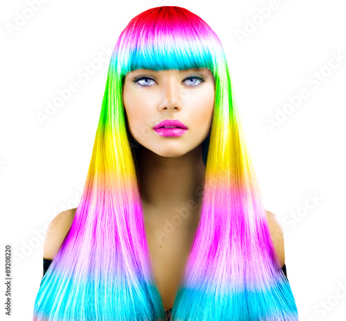 Fototapeta Beauty fashion model girl with colorful dyed hair