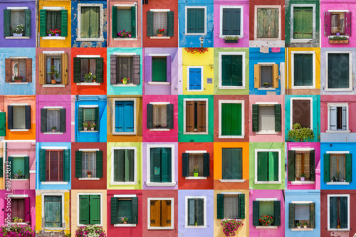 Zdjęcia na płótnie, fototapety na wymiar, obrazy na ścianę : Abstract colorful windows on the island of Burano Venice Italy