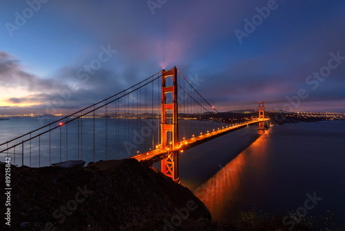 Poster Golden Gate Bridge of San Francisco an early morning.