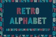 Постер, плакат: Retro stripes funky fonts seamless pattern