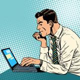 Fototapety man working laptop