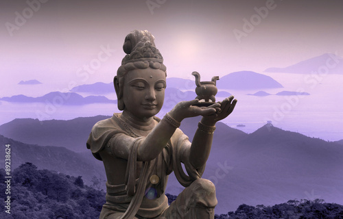 Fotografiet Buddhist statue at Po Lin Monastery - Lantau Island.