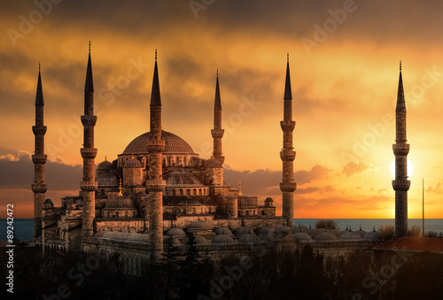 The Blue Mosque in Istanbul during sunset Poster