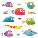 Cartoon Fish Collection for Kids Design