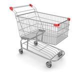 Metal Shopping Cart - Isolated on White