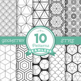 Fototapety Set of 10 Vector Seamless Geometric Lines Pattern Backgrounds fo