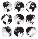 Fototapety Vector globe earth icons on a white background