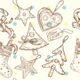 seamless hand drawn pattern christmas toys