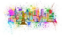 Нью-Йорк Skyline Paint Splatter Иллюстрация
