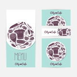 Set of identify cards templates with doodle food. Cafe branding poster