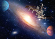 Satellite space station spaceship spacecraft outer planet galaxy universe. Elements of this image furnished by NASA.