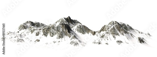Snowy Mountains - Mountain Peak - separated on white background - 89337661