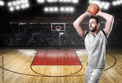 Basketball Player on a white uniform on white background Poster
