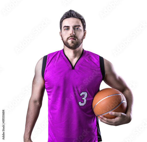 Poster Basketball Player on a purple uniform on white background