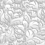 Seamless floral pattern with shadow