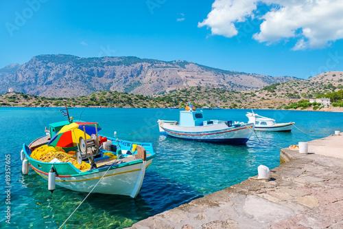 Aluminium Boats in harbour. Symi, Greece