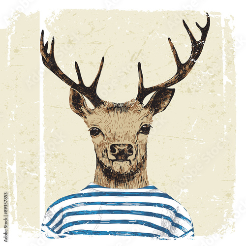 Hand drawn dressed up deer  - 89357853