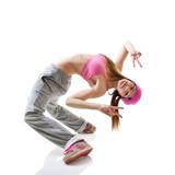 Teen girl hip-hop dancer over white background - 89367602