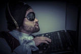 Violation, computer security, hacker pirate dress with hat and s poster