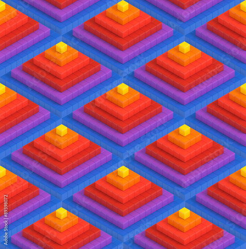 Fotobehang 3d Achtergrond Colorful 3D boxes pyramid background - vibrance cubes seamless pattern