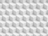 Abstract white 3D geometric cubes background - seamless pattern