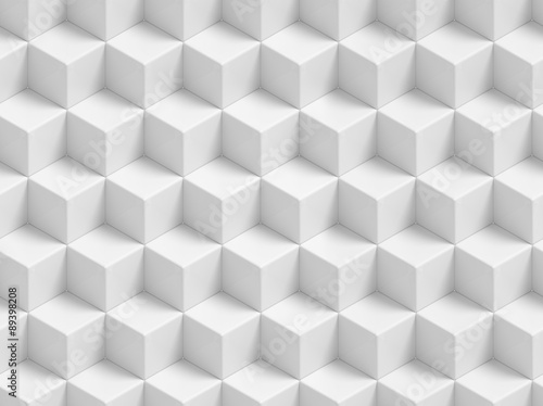In de dag 3d Achtergrond Abstract white 3D geometric cubes background - seamless pattern