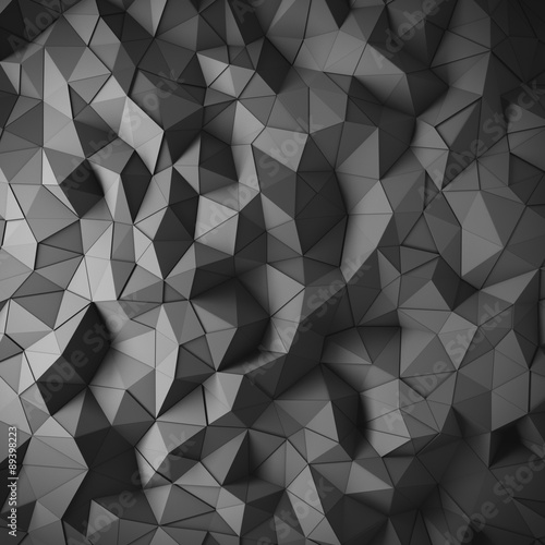 Fotobehang 3d Achtergrond Abstract black 3D geometric polygon facet background mosaic made by edgy triangles